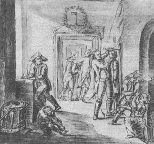 Рис. VI. 2. Рисунок И.В. Гете, изображающий измерения новобранцев в Германии в 1779 г
