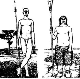 """Рис. VII. 8. Адаптивные типы человека:""""тропический"""" (нилотский) слева и """"арктический"""" справа"""