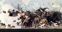 Битва Александра Микедонский с дарием при Иссе. Мозаика из дома Фавна в Помпеях. Конец II- начало I вв. до н. э.