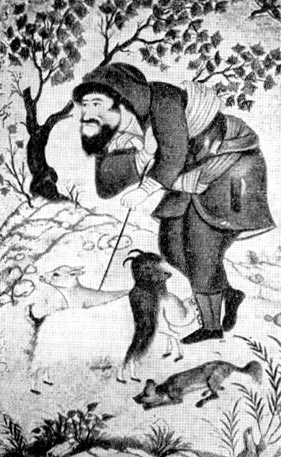 Пастух. Миниатюра работы Ага-Реза Аббаси. 1632 г.